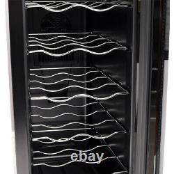 12 Bottles Champagne Wine Cooler Cabinet Fridge with LED Light Glass Single Door