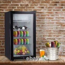 43L/63L/83L Mini Refrigerator Glass Door Black Desktop Cooler Bedroom Office UK