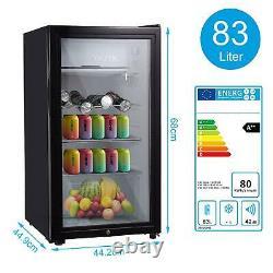 43L/63L/83L Mini Refrigerator Glass Door Desktop Tabletop Cooler Bedroom Office