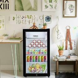 43L/63L/83L Refrigerator Glass Door Fridge Tabletop Cooler Bedroom Home Office