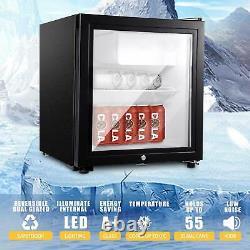 43L Desktop Mini Fridge Drinks Chiller Glass Door Black Refrigerator Cooler SHOP