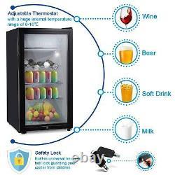 43/63/83L Refrigerator Glass Door Fridge Desktop Tabletop Cooler Bedroom Office