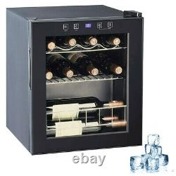 46 Litre 16 Bottles Wine Cooler Stainless Steel Glass Door Beer Drinks Fridge