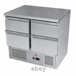 Commercial Bench Fridge Stainless 2 Door 4 Drawer Ice-A-Cool ICE3820GR