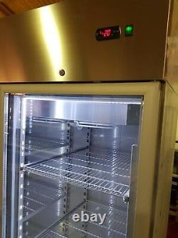 Double door upright display freezer/led lights/full stainless f1400