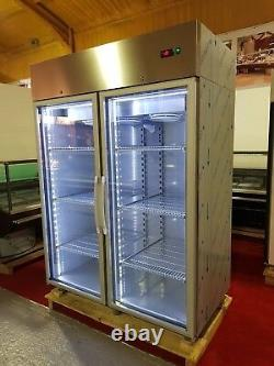 Double door upright display freezer/led lights/full stainless f1400 top quality