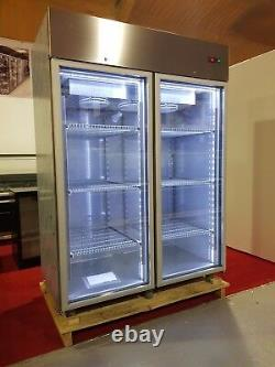 Freezer F1400 Double Door Upright Display LED Lights/full stainless