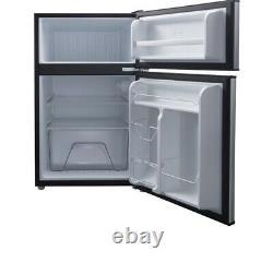 Galanz 3.1 Cu ft Two Door Mini Fridge with Freezer Estar Stainless Gray