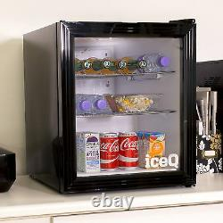 IceQ 49 Litre Glass Door Small Drinks Fridge For Wine, Beer, Bottles Black