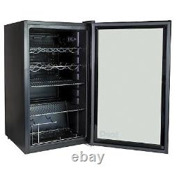 IceQ 93L Under Counter Glass Door Display Wine & Bottle Drinks Fridge Black