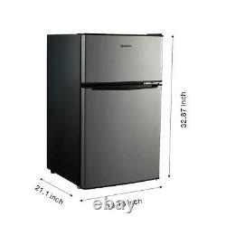 Mini Fridge Small Refrigerator Freezer 3.1 CU FT Two Door Compact Stainless Cool