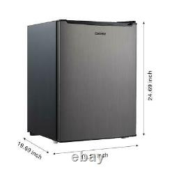 Mini Refrigerator 2.7 Cu Ft Stainless Steel Single Door Small Fridge Dorm Office