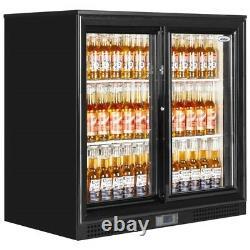 New Back Bar Sliding 2 Door Bar Bottle Cooler Pub Beer Fridge & Free Delivery