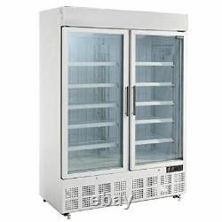 Polar Double Door Display Freezer with Light Box 920Ltr
