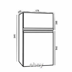 SIA UFF01SS 88L Silver/Grey Freestanding Under Counter 2 Door Fridge Freezer