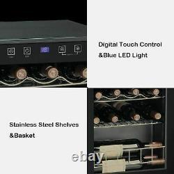 SMAD 15 Bottle Wine Cooler Fridge Countertop LED Touchscreen 46L Glass Door