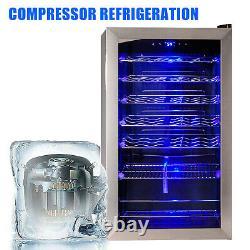 SMAD 95L Beer Wine&Drinks Mini Fridge Led Compressor Cooling Glass Door Chiller