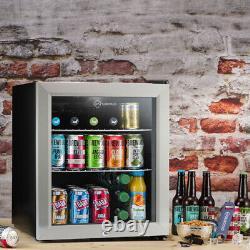 Subcold Super 50 LED Black/Stainless Steel Door Mini Beer & Drinks Fridge A+