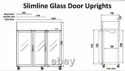 Triple Glass Door Upright Freezer