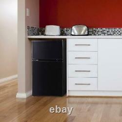 Two Door Mini Fridge 3.2 Cu Ft withFreezer Home Office Compact Refrigerator Black