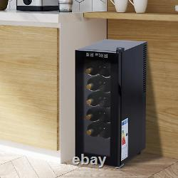 12 Bottle Wine Cooler Glass Door Led Drinks Fridge Tabletop Compact Fridge
