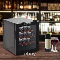 16 Bottle Wine Cooler Glass Door Led Drinks Fridge Tabletop Compact Fridge