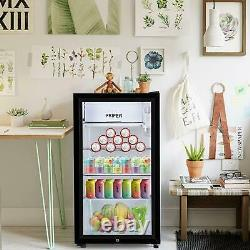 43l/63l/83l Mini Réfrigérateur Glass Door Black Desktop Cooler Bedroom Office Royaume-uni