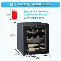 46 Litre 16 Bouteilles Refroidisseur De Vin Acier Inoxydable Porte En Verre Boissons De Bière Réfrigérateur