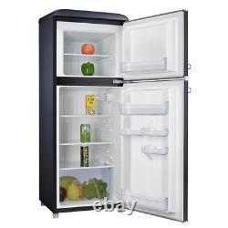 4.6 Cu. Ft. Rétro Mini Réfrigérateur Avec Double Porte Véritable Congélateur En Noir