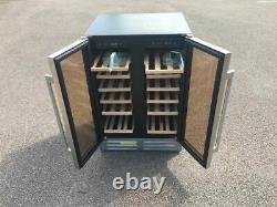 60cm Double Porte Double Zone Sous Comptoir Refroidisseur À Vin 40 Bouteilles Capacité
