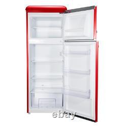 7.6 Cu. Ft. Rétro Mini Réfrigérateur Avec Double Porte Et Véritable Congélateur En Rouge