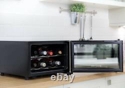 8 Bouteilles Drinks Wine Beer Cooler Display Door Mini Fridge Bar Chiller Black New