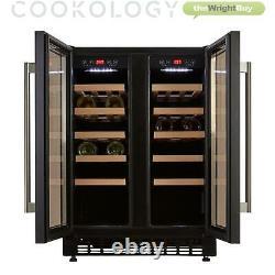 Cookology Cwc609bk Black 60cm Dual Zone Wine Cooler 2 Door Undercounter Fridge