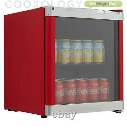 Cookology Mbc46rd Glass Door Beverage & Wine Cooler, Mini Drinks Fridge In Red