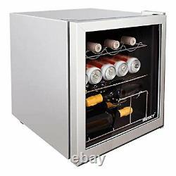 Husky Table Top Mini Boissons Refroidisseur Frigidaire Argent Avec Porte En Verre Argent Hu281