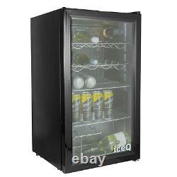 Iceq 93l Under Counter Glass Door Display Wine & Bottle Drinks Fridge Noir