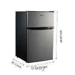 Mini Réfrigérateur Petit Réfrigérateur Congélateur 3.1 Cu Ft Deux Portes Compactes En Acier Inoxydable