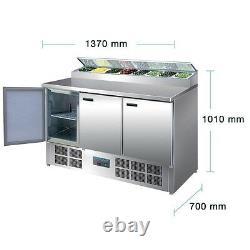 Polar Réfrigéré 3 Portes Pizza Et Salade Préparation Compteur Display 390 L Commercial