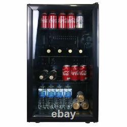 Sia Dc1bl 126l Sous Comptoir Boissons Réfrigérateur, Bière Et Refroidisseur De Vin Avec Porte En Verre