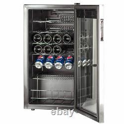 Smad 95 Litre 35 Bouteilles Vin Réfrigérateur Boissons Refroidisseur En Acier Inoxydable Porte En Verre