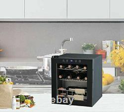 Smad Table Top Refroidisseur De Vin Mini Réfrigérateur 16 Bouteilles Porte En Verre 46 L Boissons Chiller